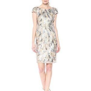 Nicole Miller Women's Sequined Cocktail Dress Gold